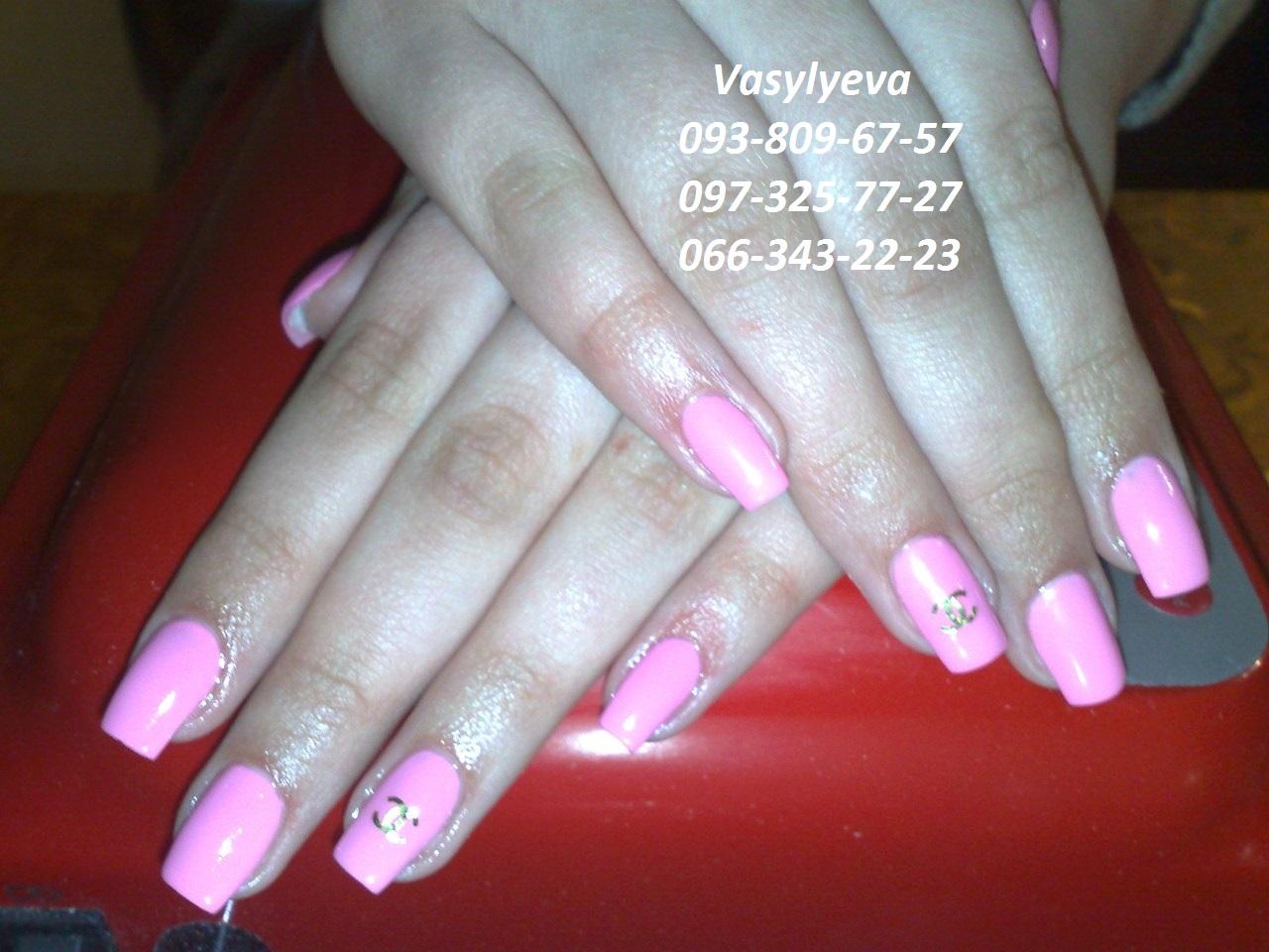 Дизайн нарощенных ногтей фото розовые
